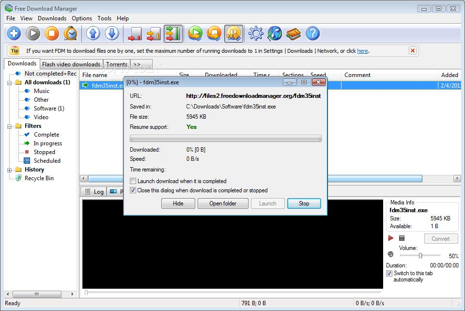 برنامجFree Download Manager لتحميل الملفات من الإنترنت