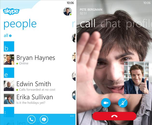 تطبيق سكايب Skype لنظام ويندوز فون 8