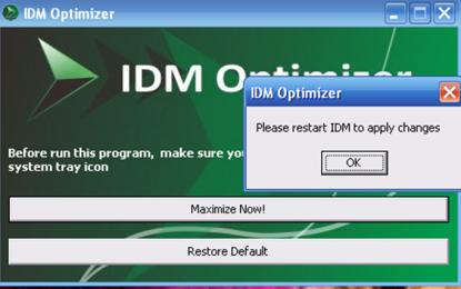 أداة IDM Optimizer لزيادة سرعة التحميل